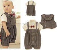 Retail infant Gentleman styles short  boys suit/Popular baby suit/Stripe vest+ baby romper Grey climb clothes kids body suit