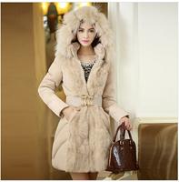 E-Unique LR18 New 2014 Winter Coat Women Luxurious Fur Coat Cotton Padded Jacket With A Hood Parka Warm Down Coat