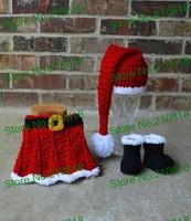 Free shipping Crochet baby Santa Hat skirt boots set, baby girl Santa Set newborn photo prop