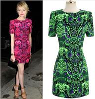 New 2014 summer women Print dresses Chiffon vintage Short sleeve vestido de festa plus size renda roupas femininas estampado