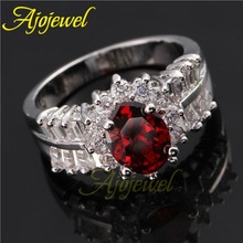 Clear & Red Cubic Zirconia Engagement Rings Ruby Top Quality Simulated Diamond Wedding Jewelry For Women
