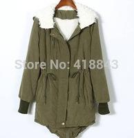 women coat  Korean fashion new winter padded jacket liner lamb's wool hooded coat thicker swallowtail