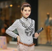 New 2014 women OL clothing Flouncing chiffon blousee casual long-sleeved Black Polka Dot shirts free shipping