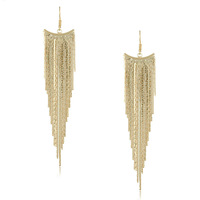 New Style 2014 Europe And The United States Gold Exaggerated Tassel Metal Earrings Punk Large Drop Earrings For Women Girls