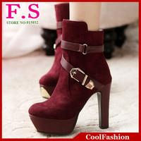 Big Szie 34-43 Fashion Sexy High Heels Platform Women's Ankle Boots Round Toe Buckle Straps Short Fur Shoes Snow Boots
