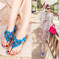 2014 Bohemian sandals shoes summer new beaded flip clip toe flat shoes flower child