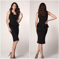 New Arrival branded lady fashion dresses fashion ladies sleeveless waist Slim package hip dress flouncing D111-1
