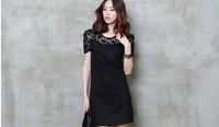 New 2014 Women Summer Dress Fashion  Stylish Plus Size Women Lace Dress Short Sleeve Round Neck Sexy  Dress Free Shipping