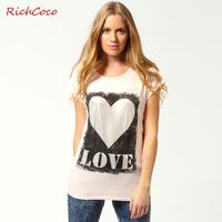 Fashion street paragraph of love pattern print love bronzier polka dot t-shirt short-sleeve T-shirt d032