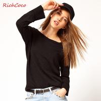 Fashion normic richcoco loose knitted long-sleeve raglan sleeve round neck basic T-shirt shirt plus size female c005