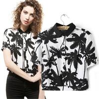 2014 summer fashion  for palm   tree b print knitted t-shirt short-sleeve shirt short design