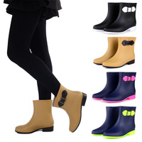 2014 New Color Decration PVC Rain Boot Ankle Short Water Shoes Women Rainboots Gilr Student Rubber Boots Point Toe