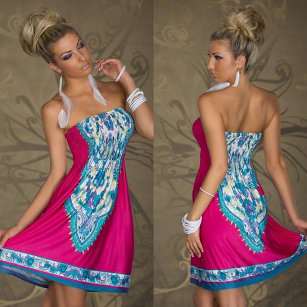 1088 free shipping 2014 summer women new fashion 4 colors tube top printed sexy clubwear dress plus size bohemian beach dresses(China (Mainland))