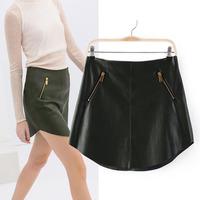 Free shipping   Hot sale Girls  Autumn New Double Zipper Decorate Pu Leather Skirt  Womens Sexy Fashion skirt