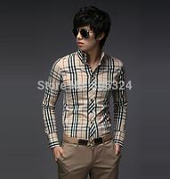 2013 spring b male unique long-sleeve slim casual plaid shirt 8569