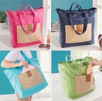 10 PCS 1 LOT HOT Foldable Eco Shopping Travel Shoulder Handbag Reusable Tote Bags Portable wiht Handle Zipper 4 Colors