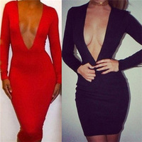 New Arrival 2014 Women Sexy Pencil Dress Deep V Neck Long Sleeve Summer Bandage Dress Black Evening Party Dress Vestidos 2349