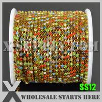 Free Shipping SS12 Regular Crystal Rhinestone Chain, Multi Colors Rhinestone in Random, Gold Base, X11212