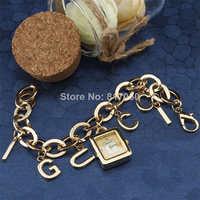 2014 new fashion women dress quartz watches luxury golden rectangle case alphabet pendant steel chain strap bracelet wristwatch