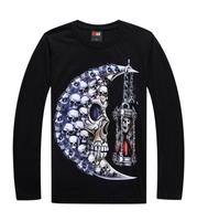 2014 new Men dancers luminous skull long sleeve t-shirt men's street hip-hop loose T-shirt novelty top & tees L024