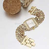 2014 new fashion women dress quartz watches luxury crystal rhinestone rectangle case steel chain strap bracelet wristwatches