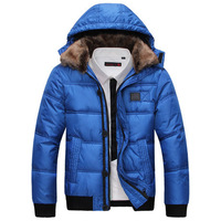 819 Super Deal  Men's Cotton Parkas ,Keep Warm  Fur Collar Warm Jackets Thick Padded,2014 Hooded Parkas