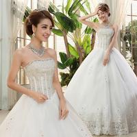 Tube top type bride wedding formal dress 2014 bandage white plus size diamond brief hs