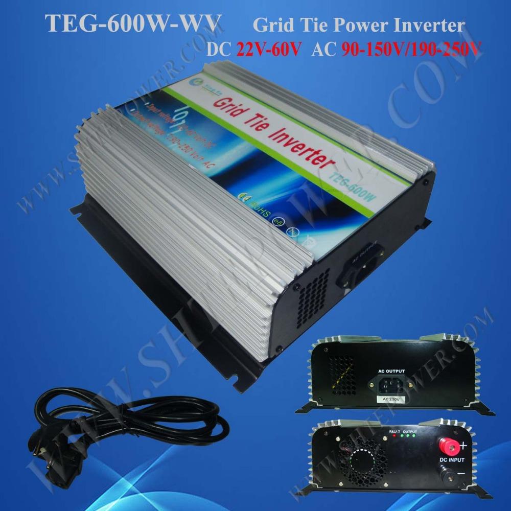 power grid tie inverter 600w dc 22-60v to ac 120v/240v mppt solar on grid tie inverter(China (Mainland))