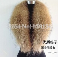 2014 Free shipping New arrival real fashion women raccoon fur collar scarf leather scarf