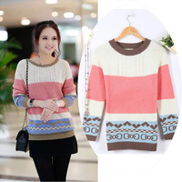 Autumn Fashion Casual O-neck Thick Striped Mixed colors Bow Loose Sweaters and pullovers Computer Knitted Women's Clothing 722B
