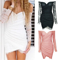 2014 New Fashion Sexy Bodycon Lace V -Neck Strapless Dresses Mini Dress Women