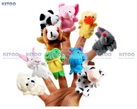 10PCS Happy Family Fun Animal Finger Finger Puppet kid Baby infant  Toy Plush Toys  Free shipping
