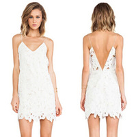 Free shipping Fashion V-neck halter dress Women Lace summer dress brand tank dress