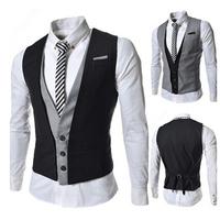Black New 2014 Fashion Design Men Slim Patshwork Color Suits Vests Men's Wedding Vest Male Jacket Mens Dress Clothing AX296 M-XL