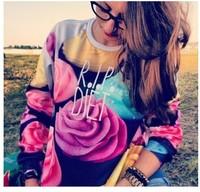 Fashion Women The Cake Pullovers Funny 3D Sweatshirts Food Print Black Collar Plus Size Galaxy Hoodies Top