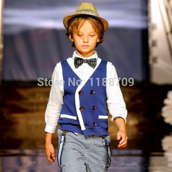 Outono novo estilo de puro algodão crianças coletes academia britânica meninos coletes 3-6 anos roupa das crianças 100 - 120 cm sz8-009(China (Mainland))