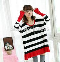 New 2014 Autumn Women's T-shirt Fashion Wild Loose leakage Shoulder Neck long Sleeve Striped Women T-shirt For Free Shipping