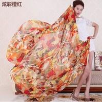 (Min order is $10) 200*145cm wholesale Fashion Brand Design silk scarf women neckerchief Chiffon scarf Fashion Scarves Women