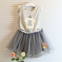 new 2014 summer baby & kids clothes sets female child sleeveless vest + Short skirt sets baby girls casual top + tutu skirts