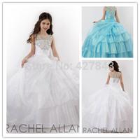 Pageant Dress for Girls Glitz with Diamond Organza White Ball Gown Prom Dress For Girls Children Flower Girl Dress Princess