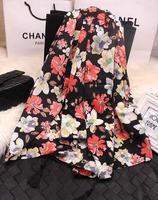 50% off  2014 new fashion woman's summer autumn  scarf  vintage flower tassel scarf silk scarf beach towel large facecloth