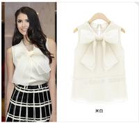 New 2014 S-XL summer fashion shirts women's plus size chiffon shirt sleeveless  top women's blouse