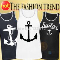 New 2014 Fashion mens tank tops Hot Selling Anchor Print short sleeve vest tops Rock Shirt Spring Summer Tops For men Sale
