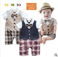 819 promotion Summer short-sleeved leotard baby boy gentleman vest climbing clothes Plaid suit
