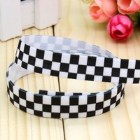 5/8'' Free shipping Fold Over Elastic FOE plaid printed headband headwear hair band diy decoration wholesale OEM P3015