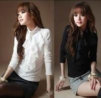 Free shipping  women's gentlewomen fashion ruffle stand collar slim long-sleeve shirt Blouses drop shipping C07