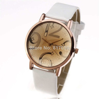new fashion womage 2014 casual big index gold luxury case pu leather strap women ladies gift wrist quartz watch 460102