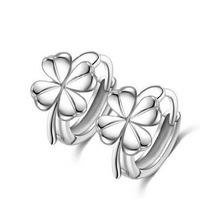 Lucky Clover Flower Stud Earring,Simple Silver Earrings,925 Silver with Platinum Plated,AAA Quality Austria Crystal OE68