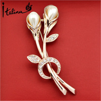 Italina Rigant Elegant Tulip Flower Brooches With Austrian Crystal Stellux Party Jewelry Top Quality #RG52643
