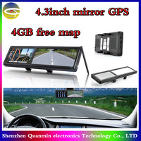 4.3Inch Rearview Mirror Built-in Car GPS navigation,MTK,wince 6.0,DDR128M,4G memory,Navitel or IGO free map,Vehicle gps system